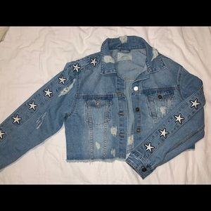 Cropped/Distressed Denim Jacket w/ Star Details